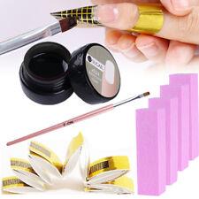 7ml UV Gel Builder Tips Extension Glue Nail Brush File Buffer + 20pcs Nail Forms
