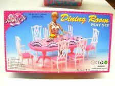 Barbie Size Dollhouse Furniture Dining Room Pink Doll Chair Table Play Set