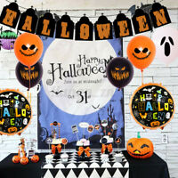 32Pcs Halloween Party Decor Scary Ghost Balloons Banners Photo Booth Props Set