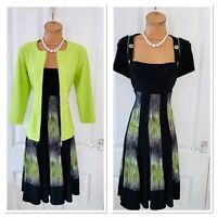 FRANK LYMAN Fit & Flare Jersey Dress & Green Jacket Uk Size 10