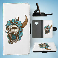 SAMSUNG GALAXY NOTE 9 FLIP CASE WALLET COVER|SKULL WITH HORNS 2