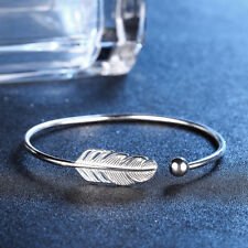 WOMEN'S SILVER PLATED ANGEL FEATHER BRACELET ADJUSTABLE OPEN CUFF BANGLE NICE