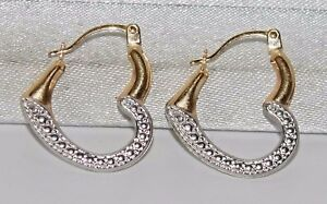 9CT GOLD LADIES HEART HOOP EARRINGS - SOLID 9CT GOLD - TWO TONE