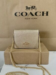 COACH Mini Wallet On Chain / Leather Card Holder ID Coin Case Gold