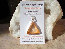 VOGEL! Tangerine Aura Quartz High Grade Quartz VOGEL Triangle Pendant  Energize!