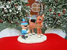 Hawthorne Village Sunglass Elf w/ Rudolph Red Nosed Reindeer Figure Xmas 91362 D