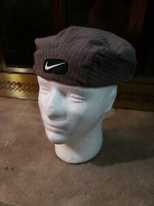 Vintage 90's Nike Golf Tiger Woods Newsboy Cap Hat Gray Pinstripe Mens Large Vtg