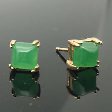 Green Jade Emerald Square Stud Earrings 18K Gold Plated Women Jewelry