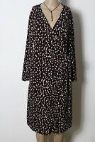 MANGO Kleid Gr. L schwarz-braun-beige Langarm knielang Muster Wickel Kleid
