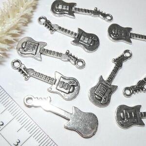 Metall Anhänger 10x * E-Gitarre * 32x10mm * antiksilber  Bass Gitarre Instrument