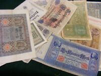 Lot of 34 Genuine Very Old German Banknotes:.from 1910 to 1923,