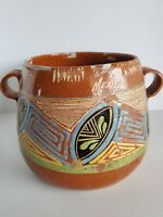 Mexican Pottery Old Vintage Bowl Pot 8x7 Inch Redware Clay Mexico