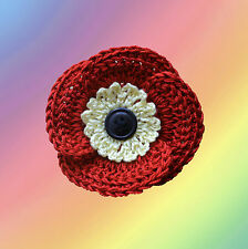 Crochet Red Cotton Poppy Flower Brooch/Corsage, Handmade, Remembrance Poppy