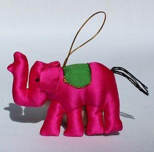 Fair Trade Silk Elephant Hanging Xmas Decoration Handmade in Cambodia