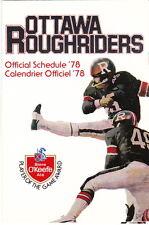 1978 OTTAWA ROUGH RIDERS CFL FOOTBALL POCKET SCHEDULE
