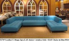 3PC Modern Gorgeous class design blue leather U-shape set #1707