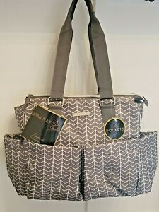 NWT Bananafish Studio Sienna Diaper Bag Stylish Gray Chevron Tote 11 Pockets
