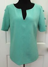 ASOS Womens Aqua Blue V Neck Knit Top SZ 8 Short Sleeve Bows Stretchy Med Weight