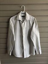 Eddie Bauer men's M legend wash white green stripe long sleeve button up shirt