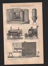 Lithografie 1897: Desinfektionsapparate. Desinfektion Großer Schimmelscher Appar