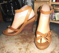 LNC* Sz 7 BCBGirls; Tan Strappy Leather Buckles/Ankle Strap Wedge Sandal Shoes
