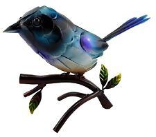 Blue Wren on Tree Branch Bird Metal Ornament Statue Figurine Sculpture *28 cm*