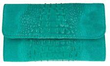Croc Print Genuine Suede Clutch Bag Italian Leather Made in Italy Handbag Ladies