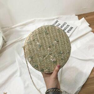 Embroidered Rattan Circle Round Korean Cute Sling Bag #2283