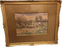 Antique Gilt Framed Claude Cardon Watercolour A Field at Whitstable Kent c 1900
