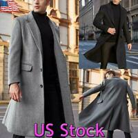 US Men Winter Warm Trench Coat Buttons Long Jacket Cardigan Overcoat Outwear Top