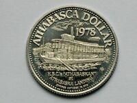 Athabasca AB CANADA 1978 Trade DOLLAR Token with HBC Steamship & Blue Heron Bird