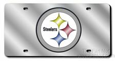 Pittsburgh Steelers Laser Tag Etched License Plate Chrome Mirror W/ Round Logo