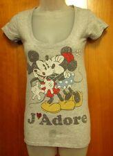 MICKEY MOUSE & MINNIE juniors XS tee J'Adore love T shirt slimfit Disney kisses