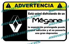 Vinilo impreso pegatina ADVERTENCIA RENAULT MEGANE RACING STICKER DECAL