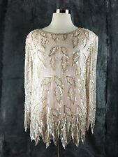 NANCY JOHNSON TOP SILK SEQUIN EVENING WEAR VINTAGE FANCY FRILLY BEAUTIFUL DD