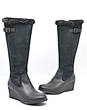 4d65f919eb2a UGG Black Suede and Leather Knee High Wedge Boots with Inner Zip Sz US11  EU42