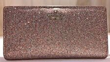 Kate Spade burgess court glitter stacy bifold wallet multi pink gold new $100