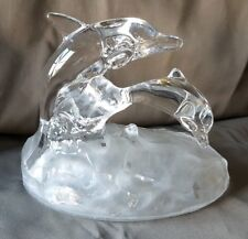Dolphins Crystal Frosted and Clear Glass Figurine