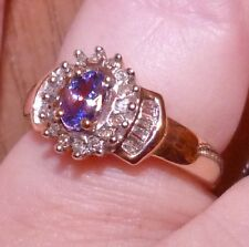 10kt .75 TCW GENUINE TANZANITE AND BAGUETTE DIAMONDS  ROYALTY RING SIZE 7