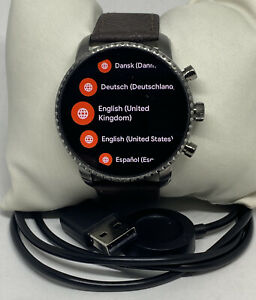 Fossil Explorist HR Gen 4 FTW4012 Men's Brown Leather Digital Dial Smartwatch