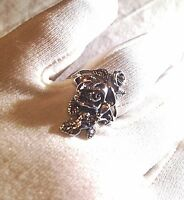 Vintage Rose Flower Wrap Filigree 925 Sterling Silver Size 7 Ring