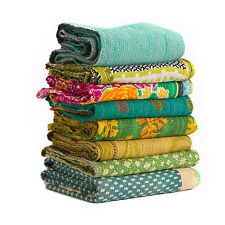 INDIAN OLD VINTAGE PATCHWORK HANDMADE KANTHA QUILT  BLANKET GUDARI LOT 10 pcs. 2