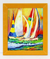 Racing Colorful Sailboats 20 x 24 Art Oil Painting on Canvas w/ Custom Frame