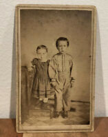 CDV Photo of Two Children Brother & Sister w/ 2 Cent Tax Stamp, Philadelphia PA