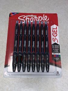 SHARPIE S GEL PENS 8 PACK OF 5 COLORS BLACK RED BLUE PURPLE GREEN 0.7MM MEDIUM
