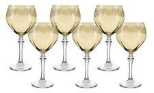 (D) Crystal Wine Stem Glasses with Vintage Decor 6-pc Set, Classic Glassware