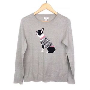 J. Crew Factory Women's S Teddie Boston Terrier Holiday Gray Pullover Sweater