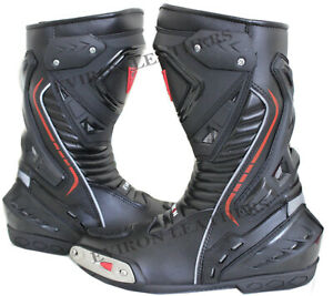 Motorcycle Motorbike Leather Boots Eviron Racing Black shoes