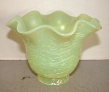 """Victorian Vaseline Opalescent Iridescent Threaded Glass Lamp Shade 2 1/4"""" Fitter"""