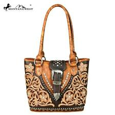 Montana West Dark and Light Brown Western Style Bucket Purse